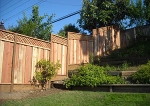 redwood stepped fence