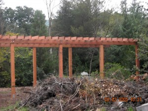 outdoor redwood wedding trellis -2