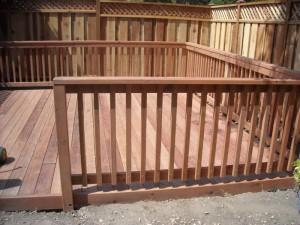 conheart redwood deck with wood rail - 2