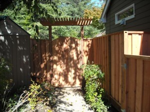 redwood gate with entry trellis
