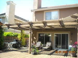 Redwood attached patio cover