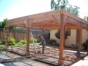 freestanding redwood patio cover custom lattice -10