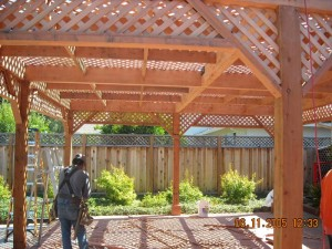 freestanding redwood patio cover custom lattice -3