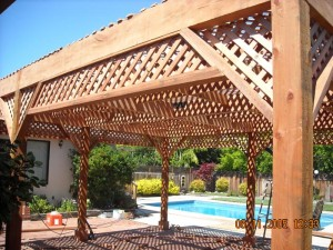 freestanding redwood patio cover custom lattice -4