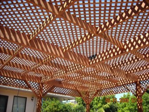 freestanding redwood patio cover custom lattice -5