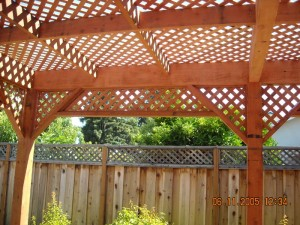 freestanding redwood patio cover custom lattice -7