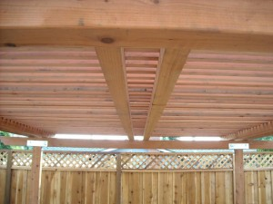 freestanding redwood patio cover with redwood posts -5