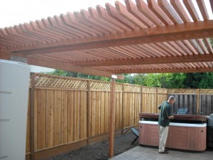 freestanding redwood patio cover with redwood posts