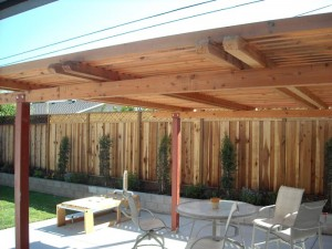 freestanding redwood patio cover with steel posts -10
