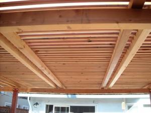 freestanding redwood patio cover with steel posts -5
