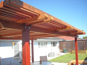 freestanding redwood patio cover with steel posts -7
