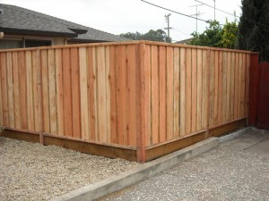 six foot close louvered concommon redwood fence